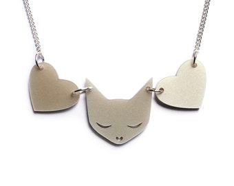 Cat Necklace -  pearl acrylic laser cut necklace platinum pearl pearlised pearlescent crazy cat lady