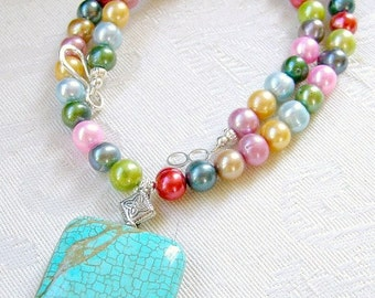 Sedona - pearl and turquoise necklace