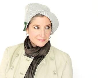 Striped cotton cloche, womens spring hat, dark green cream seersucker, modern millinery, ladies brimmed cap, soft fabric hat : Capricious