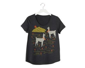 Llamas T-Shirt, Coal Cotton