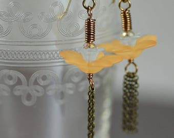 Tassel Earrings Featuring Sunny Yellow and Pale Blue Vintage Lucite Flowers Crystals Antiqued Brass