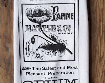 Opium Apothecary Label Flour Sack Towel. Poppy, quack medicine, pharmacy. Silkscreened organic cotton or white cotton tea towel. Dish towel.