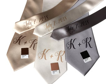 Custom Initial Wedding Neckties. Handwritten pretty script font. Personalized monogram name tie. Add wedding date/message on tie tail too!