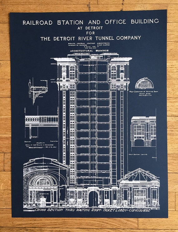 Blueprint art print hand pulled silkscreen print detroit like this item malvernweather Gallery