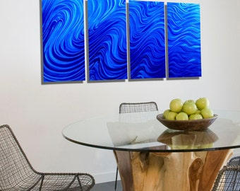 NEW! Contemporary Multi Panel Metal Wall Art in Blue, Large Decorative Abstract Metal Wall Sculpture - Blue Hypnotic Sands 4P by Jon Allen