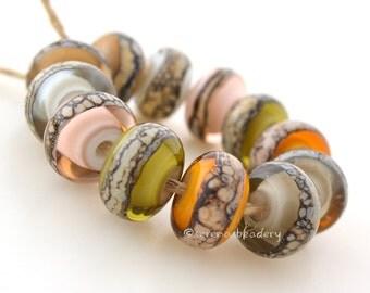 Buyer's Choice - PASTEL Colors GRANITE white heart pairs - Handmade Lampwork Glass Beads - taneres aqua amethyst brown mojito amber pink