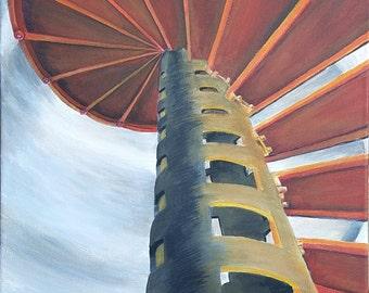 "Crisp Point Lighthouse Stairwell Original Acrylic Painting 16"" x 28"""