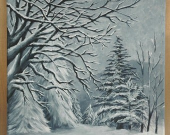 """Black and White Winter Trees in the Snow Original Acrylic Painting 12"""" x 12"""""""