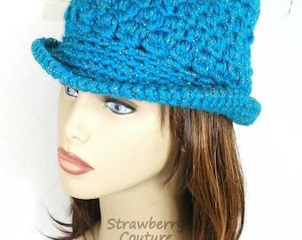 Turquoise Crochet Hat Womens Hat, Womens Crochet Hat, Crochet Brim Hat, Fedora Hat, Turquoise Sparkle, Turquoise Hat Andy Crochet Fedora Hat