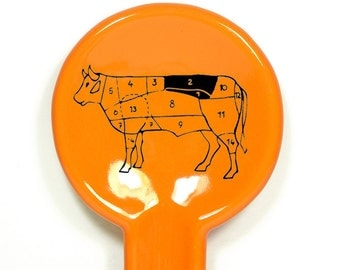 spoon rest with steer butcher map shown in Creamsicle - Made to Order / Pick Your Colour