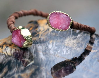 Drusy bangle wrap bracelet in Pink - leather wrapped - gold electroplated sparkle crystal cuff-style bangle Druzy // Drusie