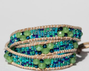Beachy 3-wrap leather bracelet
