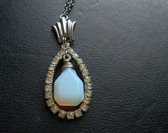 evening star - antique rhinestone and opalite tear drop necklace - occult galaxy romantic victorian inspired jewelry