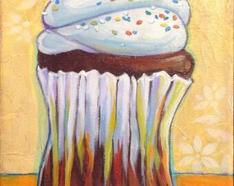 RAINBOW SPRINKLES CUPCAKE - 8x10 Original Painting - Mixed Media