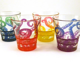 Embracing Tentacles 3oz Shot Glasses - Set of 4 - Etched and Painted Glass Barware - Ready to Ship