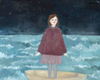 giclee print - she put her trust in the moon - limited edition giclee art print of oil painting
