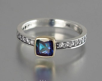 DAPHNE silver &14k gold ring with Alexandrite