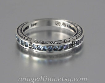 CARYATID wedding band in sterling silver with Alexandrites half-eternity band