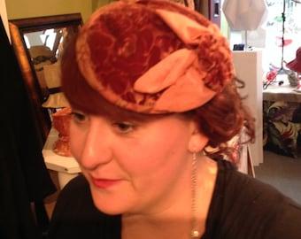 Brown velvet mini hat