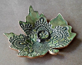Ceramic lace Leaf   Ring Dish Moss Green with gold edging