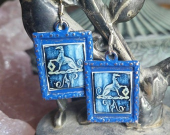Greyhound Earrings Royal Blue whippet sighthound