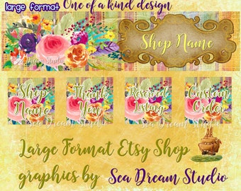 NEW Large Format watercolor flowers and stripes Etsy shop Banner set by Sea Dream Studio  OOAK