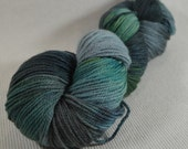 NEW Hand Dyed DK Weight Yarn Polworth and Silk - Tango by Yarn Hollow - Racing To Night Multi Color 4 ounces 330 yards