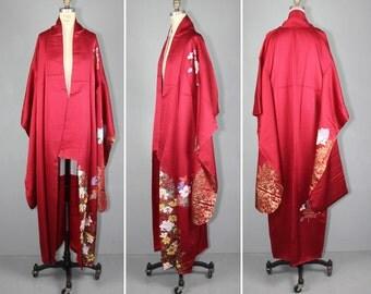 1950s / vintage kimono / furisode / SOLAINA peony flower silk robe
