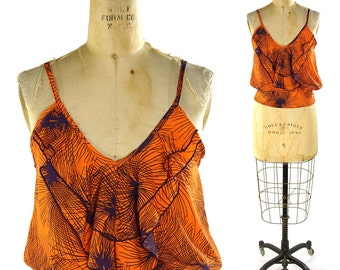 Flutter Tank / Vintage Bohemian Disco Top in Clementine Orange & Eggplant