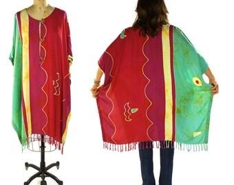 Batik Caftan Duster / Vintage 1990s Indonesian Rayon Boho Hippie Poncho Dress / Bohemian Flowing Tunic / Hand Dyed Print & Fringe Trim