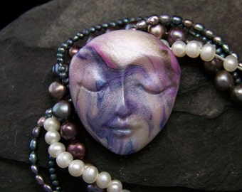 Pearly Swirls Goddess Face Cabochon OOAK Hand Painted Polymer Clay Cab for beading, art dolls, collage, and more