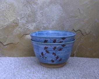 Bowls Set of 2 - Handmade Stoneware Pottery Ceramic - Sky Blue - Ginkgo - 2-1/2 cups