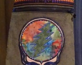 RESERVED / ON HOLD* Olive Green Corduroy Purse with Grateful Dead Stealie Bolt and Rose Appliques /Patches