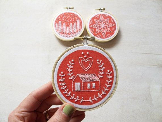 Diy holiday ornament embroidery kit gift by