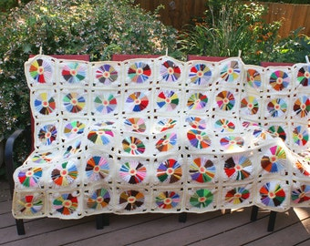 Vintage Crochet Handmade Granny Blanket Afghan Throw, Rainbow Circles Mandalas Pin Wheels