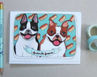 Boston Terrier Card - Greeting Card - Friends Forever Card - Blank Card - Dog Card - Friendship Card - Boston Terriers - Friends Forever
