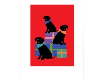 Greeting card holiday black labs choose brights or olives