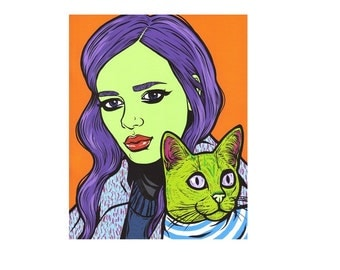 Girl with Cat Print