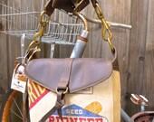 Pioneer Seeds - Iowa - Small Leather Messenger - Americana Canvas Leather Handbag- vintage fabric... Selina Vaughan Studios