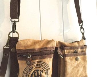 CASE IH Logo - Tan - Convertible Belt/Waist Bag Vintage seed sack W- Americana OOAK Canvas & Leather Bag Selina Vaughan Studios
