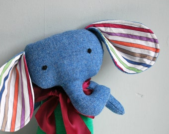 Elephant Plushie in Green Velveteen and Blue Tweed