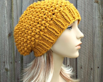 Knit Hat Womens Hat Slouchy Beanie - Seed Beret Hat in Mustard Yellow Knit Hat - Yellow Hat Yellow Beret Mustard Hat Womens Accessories