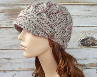 Knit Hat Womens Hat - Amsterdam Cable Beanie with Visor in Shadow Frost Grey Tweed and Raspberry Pink Alpaca Knit Hat - Womens Accessories