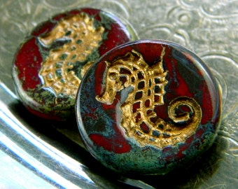 Mar Tapiz (2) -Czech Glass Seahorse Coins 23mm