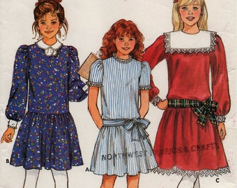 UNCUT 1984 GIRLS' DRESS Pattern Butterick 3042 Size 7-8-10 Drop Waist Church School Vintage Sewing