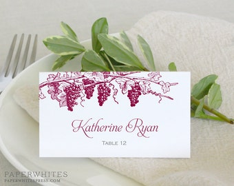 California Winery Wedding Place Cards, Vineyard Place Cards, Grapevine Place Cards, Winery Place Cards, Vineyard Wedding Place Cards
