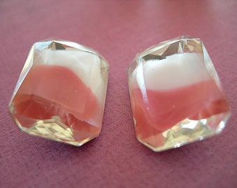 Vintage Glass Rhinestones PINK and WHITE GIVRE Octagons Cushion Cut Baguettes lot of 2 Rectangles Gold Foiled Faceted 13mm x 18mm