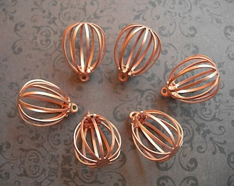 """Vintage Copper Bird Cage Charms or Pendants 5/8"""" lot of 6 Hollow Pear-shaped"""