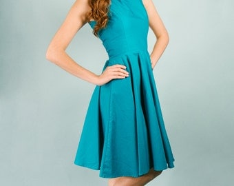 "Jade Teal HIgh Scoop Neck Vintage Style ""Agatha Fit and Flare Dress Modest Rockabilly Knee Length Cotton Blue modest tank dress Size 4 small"