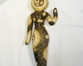 8 in. Celestial Moon Goddess cloth art doll form You finish it Bead Decorate Altar